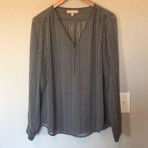 Banana Republic sheer long sleeve print blouse